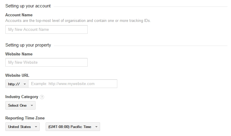 Adding your website address to Google Analytics